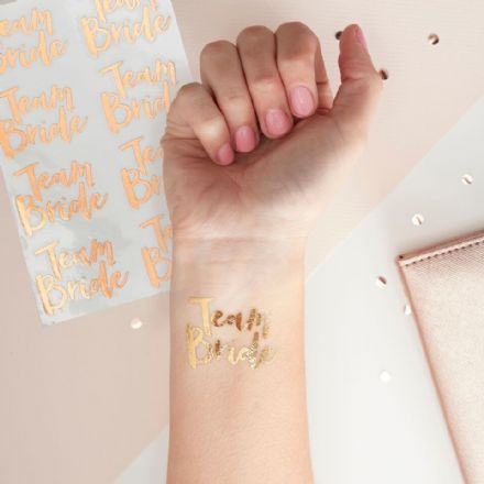 Rose Gold Team Bride Temporary Tattoos - pack of 16